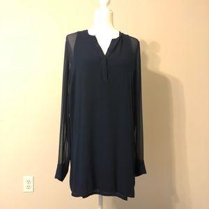 Vince Navy Sheer Silk Long Sleeve Shirtdress